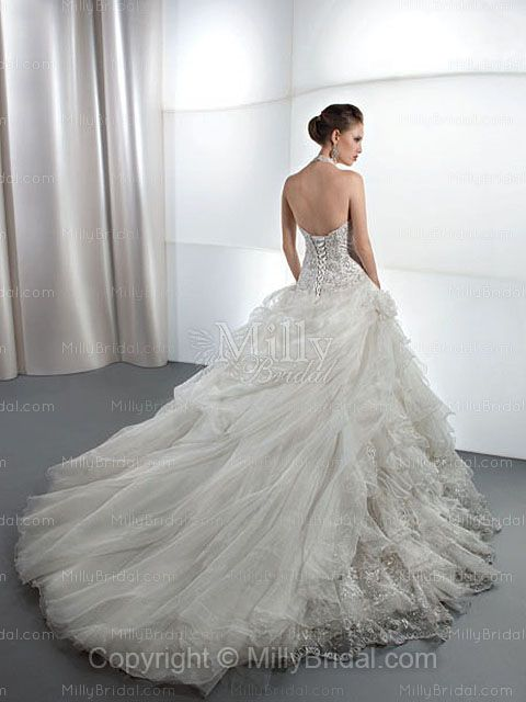 dramatic wedding gown back