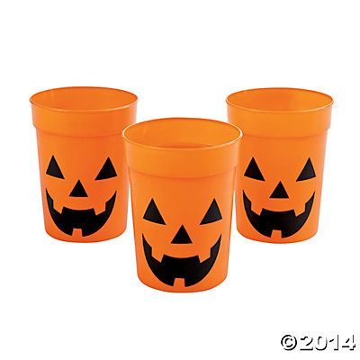 Jack-O\u0027-Lantern Cups from Oriental Trading Company, so cute for a