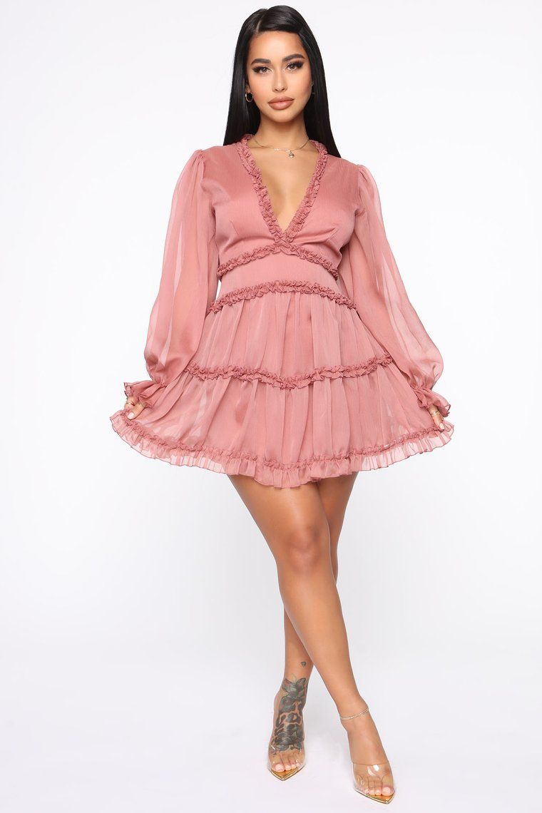 Juliet Flare Ruffle Mini Dress Mauve Mauve dress