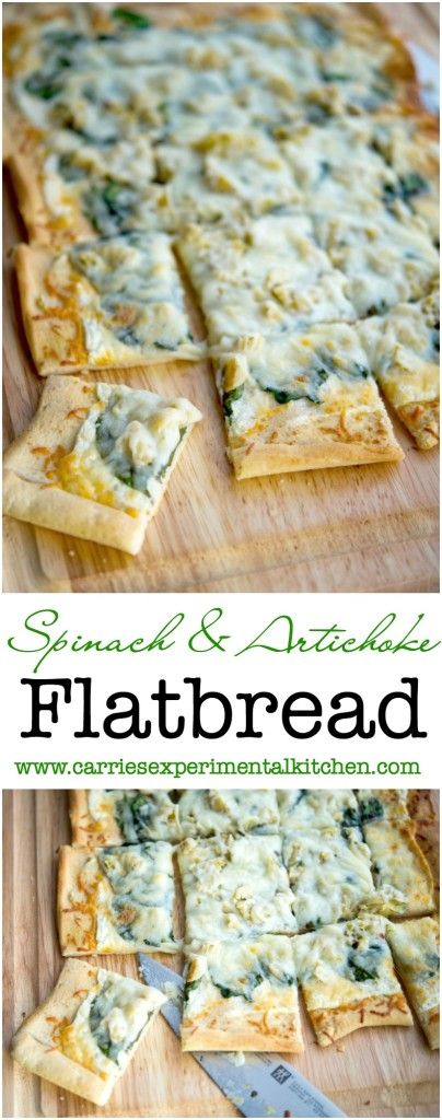Spinach & Artichoke Flatbread| Carrie's Experimental Kitchen