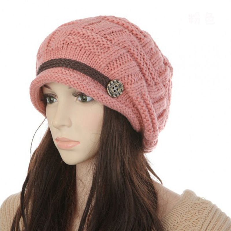5Pcs Fashion Winter Beanies Solid Color Hats Girl Warm Casual Knit ...