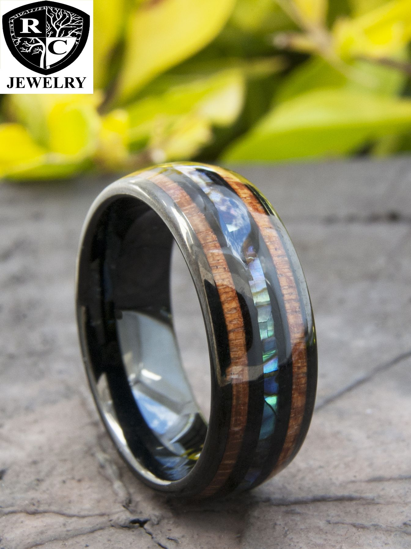Black tungsten wood ring men women abalone shell wedding