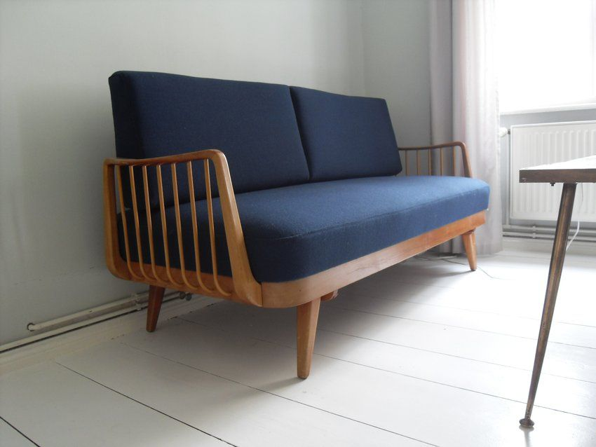 Blue Wool Knoll Antimott Daybed Small Sofa 60s Mid Century Sofa Pinterest Wool 60 And