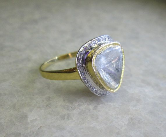 Polki Diamond Slice Ring 14K Solid Yellow Gold by yunijewels