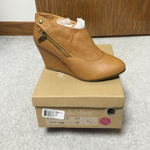 Bella Marie Sahara tan wedge booties new in box! Tan wedge booties.  New in the box. Perfect compliment to any outfit. Bella marie Shoes Ankle Boots & Booties
