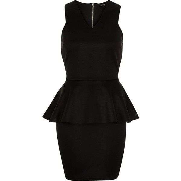 River Island Black peplum bodycon dress (£29) ❤ liked on Polyvore featuring dresses, vestidos, lbd, sale, peplum cocktail dress, v-neck dresses, flare dress, tall dresses and v neck cocktail dress