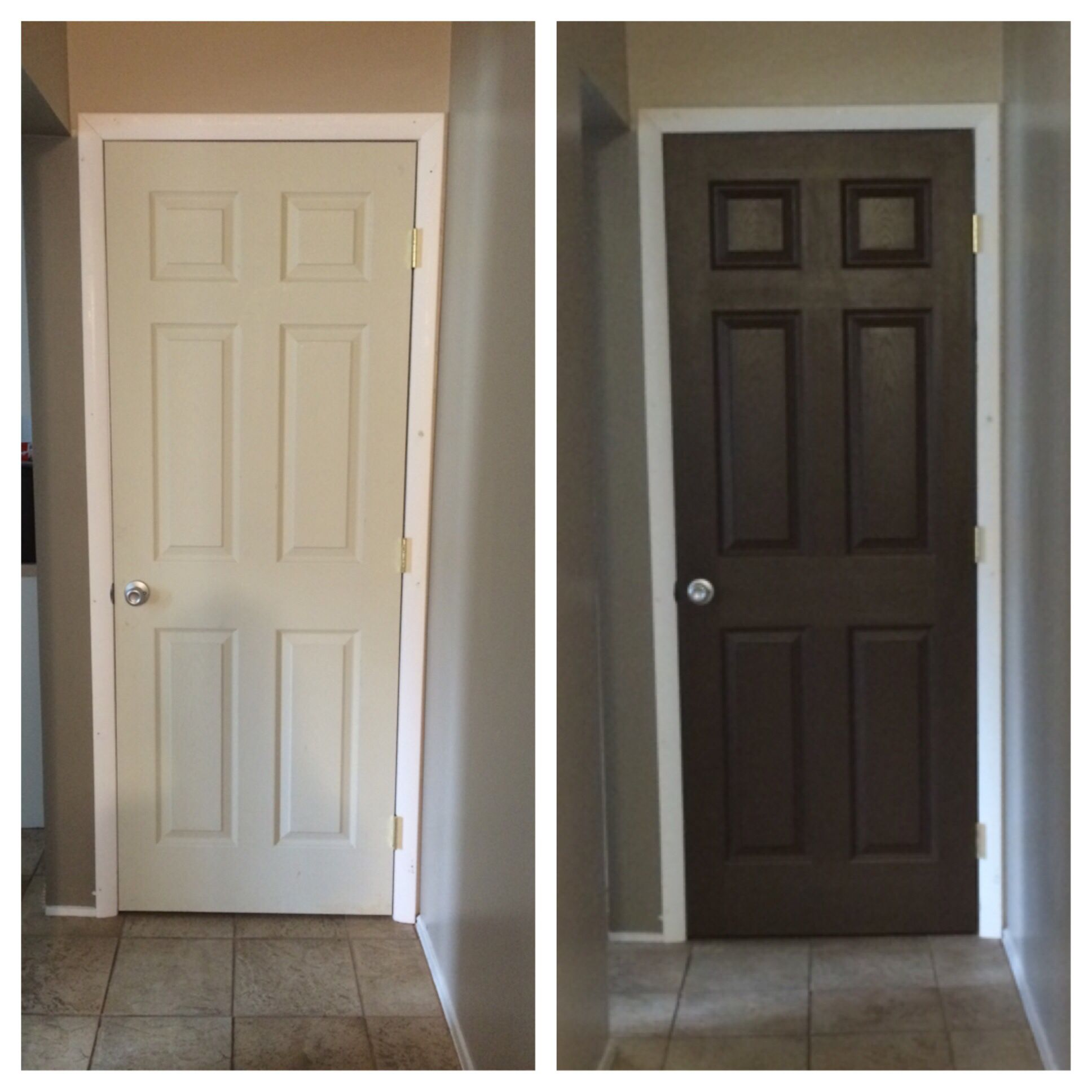 Pantry before after sherwin williams black bean our for Exterior door paint