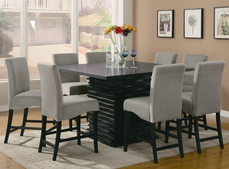Black Modern Counter Heigh Dining Table Seats 8 Furniture Home By Owner For Sale On Counter Height Dining Table Set Dining Room Sets Square Dining Tables