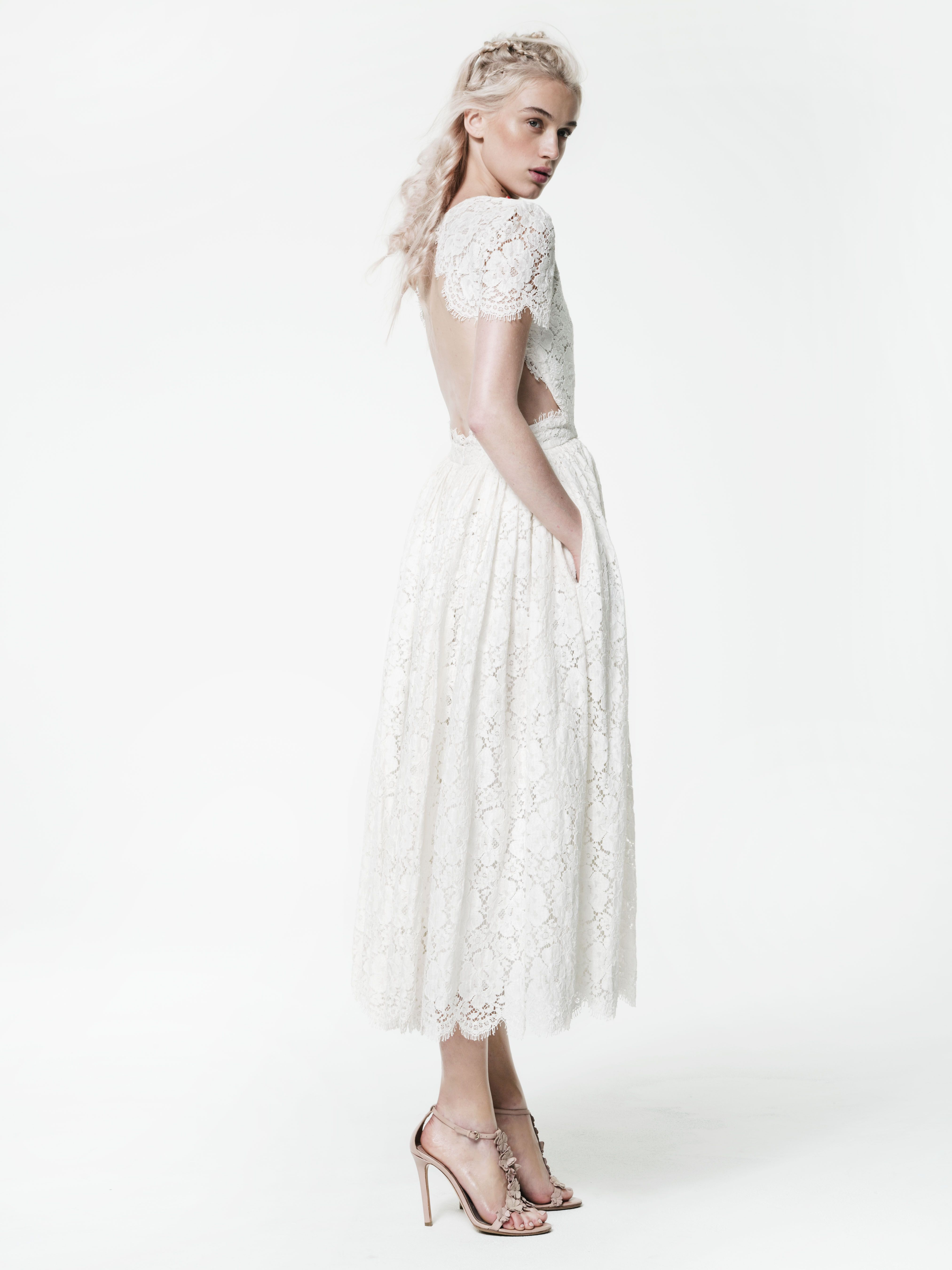 Houghton Prince Dress in French Guipure cotton lace with