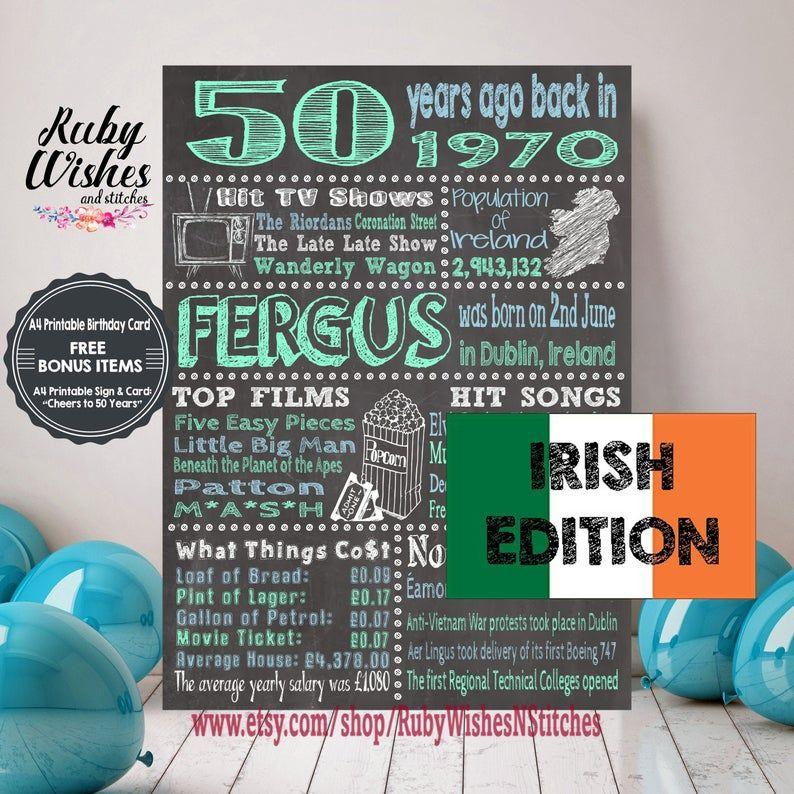 Personalised 50th Birthday 1970 Chalkboard Printable