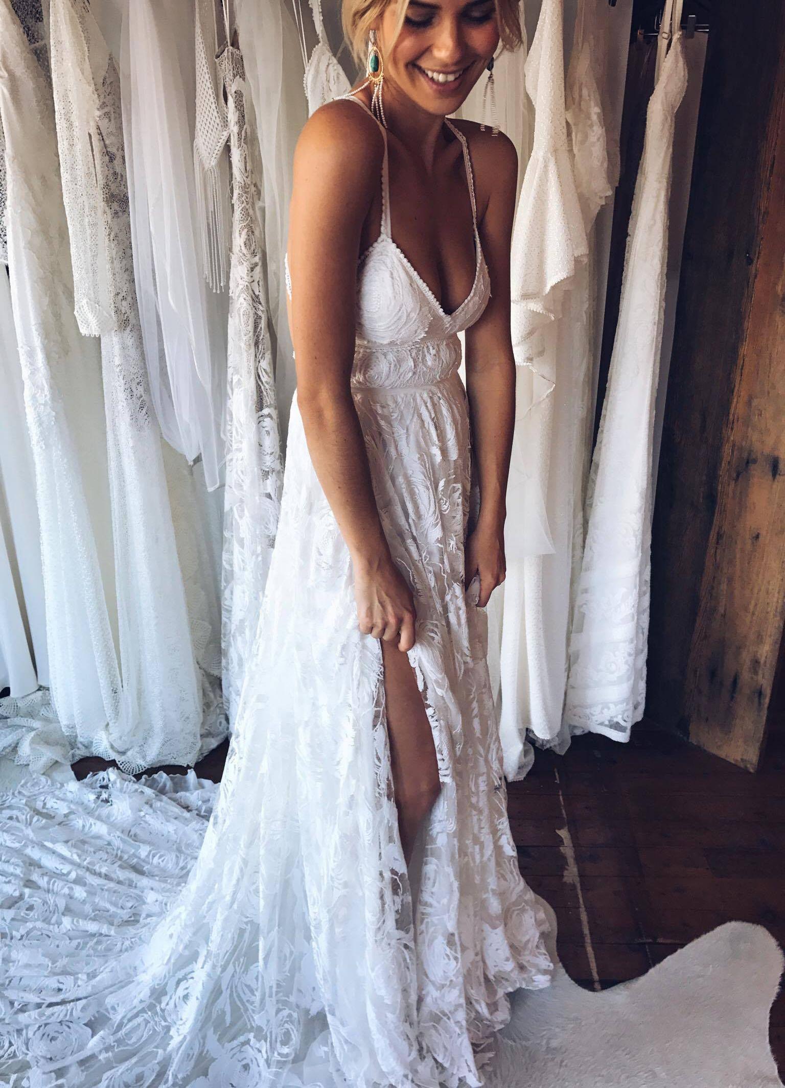 Sexy Spaghetti Straps Wedding Dresses V Neck High Low Open Back A Line Sleeveless Satin Reception Bridal Dress Vestido De Noiva Demand Exceeding Supply Weddings & Events