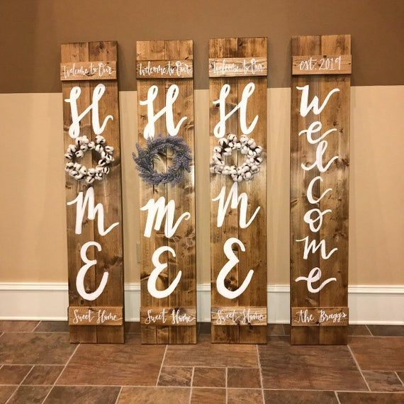 Porch Welcome Sign, Home Signs, Wood Sign with Wre