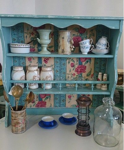 Shabby Chic Turquoise Welsh Dresser Top In Country Style