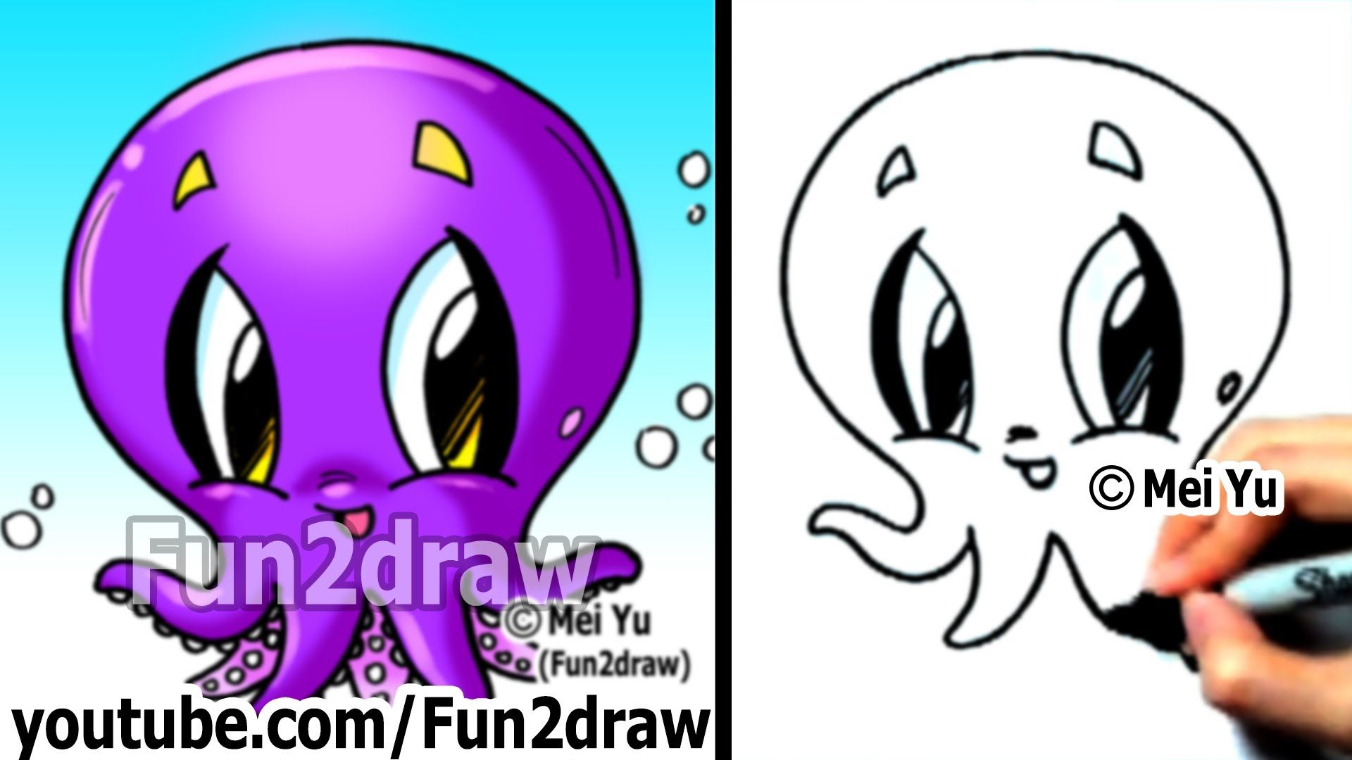 How To Draw Cartoon Characters How To Draw An Octopus Easy Drawings Fun2draw Fun2draw Easy Cartoon Characters Simple Cartoon