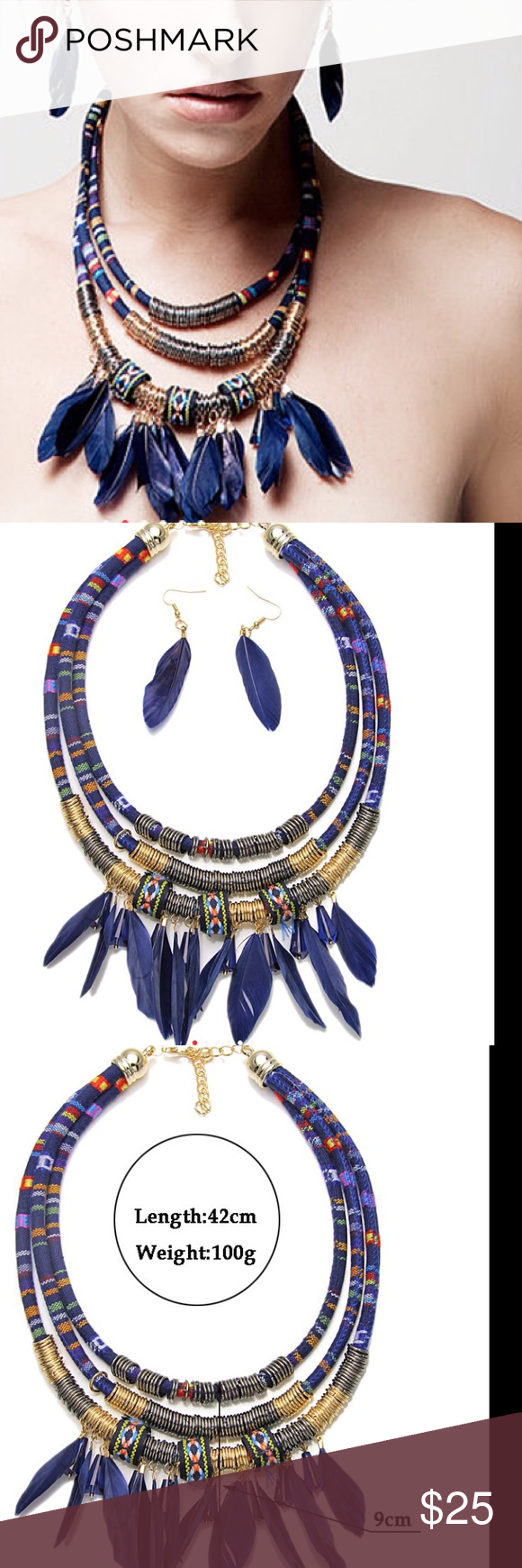 Bohemiah feather necklace set metal spring feather necklaces