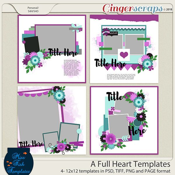 a full heart templates by miss fish scrapbook 1 page templates
