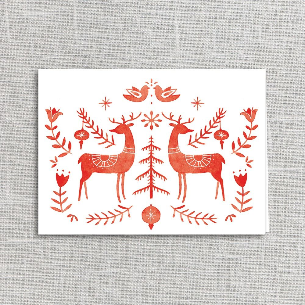 Folklore Deer Holiday Card Printable Digital Download Scandinavian Folk Art Scandinavian Embroidery Folk Art