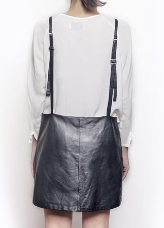 Leather pinafore dress