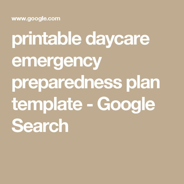 Printable Daycare Emergency Preparedness Plan Template