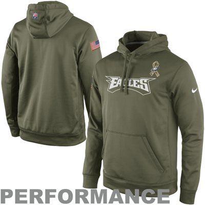 0d1b422b6 Nike Philadelphia Eagles Salute to Service KO Pullover Performance Hoodie -  Olive