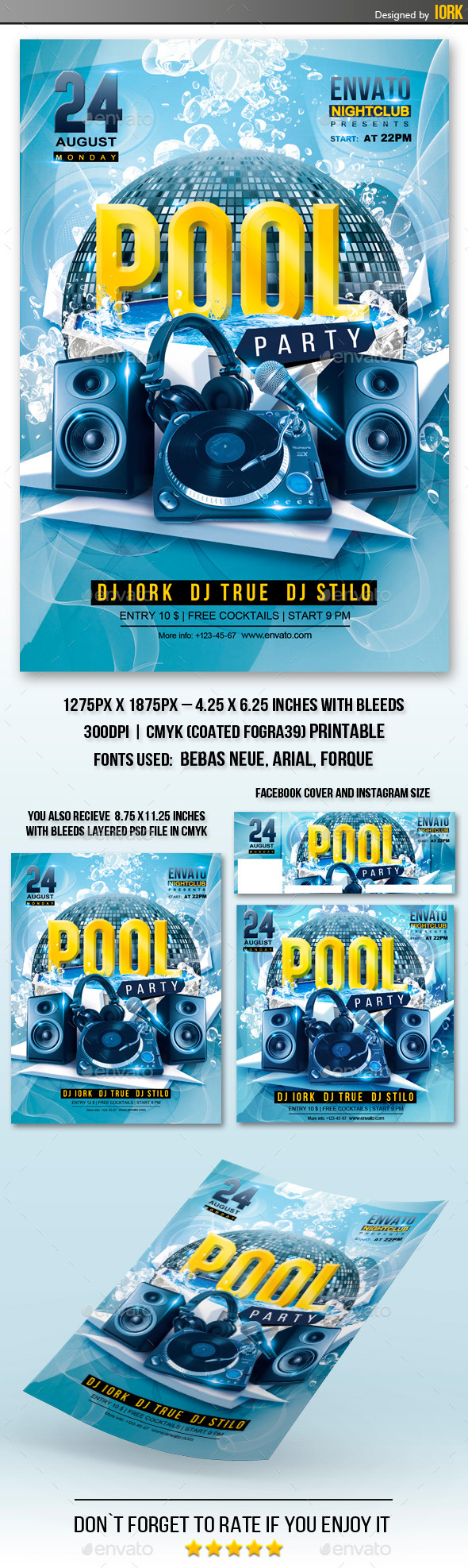 Pool Party Flyer  Party Flyer Flyer Template And Font Logo