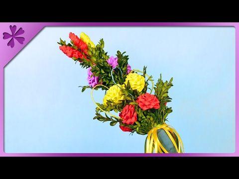 Diy Easter Palm Easter Decoration Eng Subtitles Speed Up 316 Youtube Easter Diy Easter Decorations Paper Roses