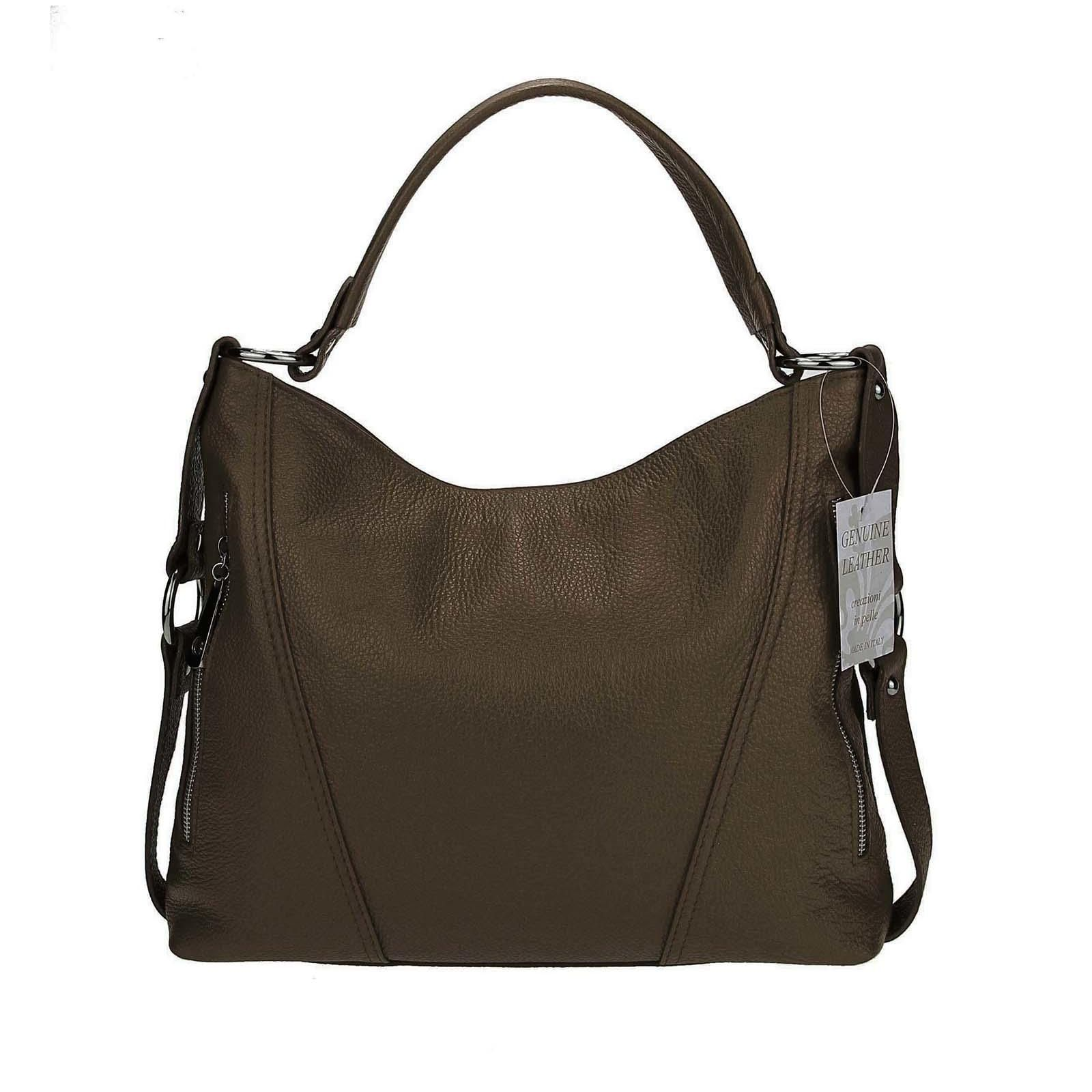 Photo of Made in Italy genuine leather Vera Pelle shopper handle bag shoulder bag bag taupe / mud