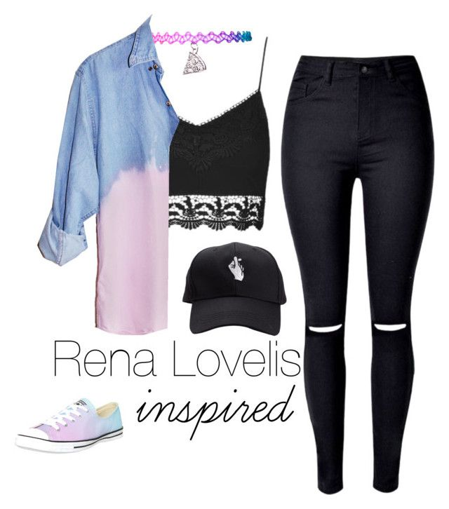 """""""Rena Lovelis inspired outfit"""" by ngochemmings ❤ liked on Polyvore featuring Converse and Topshop"""