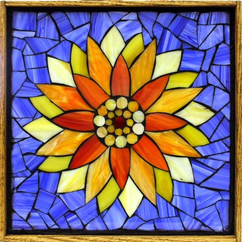 """Student Work - Framed Stained Glass Mosaic Water Lily 12"""" x 12"""" created by Vickie in a Stained Glass Mosaic Flower Workshop with Artist Kasia Polkowska - View the list of locations and dates for Kasia's Workshops Here: http://kasiamosaicsclasses.blogspot.com/"""