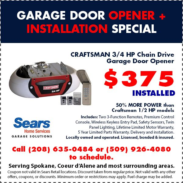 Craftsman 3 4 Hp Chain Drive Garage Door Opener Is Just 375 Installed We Service Spokane Wa Garage Doors Garage Door Opener Garage Door Opener Installation