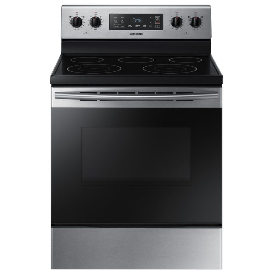 Samsung 30 In Smooth Surface 5 Elements 5 9 Cu Ft Self Cleaning Freestanding Electric Range Stainless Steel Lowes Com Freestanding Electric Ranges Electric Range Samsung Electric Range
