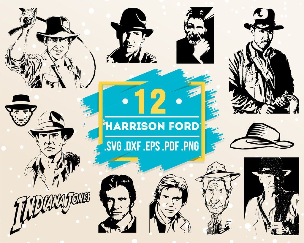 Harrison Ford Svg Famous People Indiana Jones Archaeology Celebrity Celebrity Silhouette Artist Artist Silhouette Celebrity Svg Celebrity Clipart Famo Silhouette Artist Indiana Jones Famous People