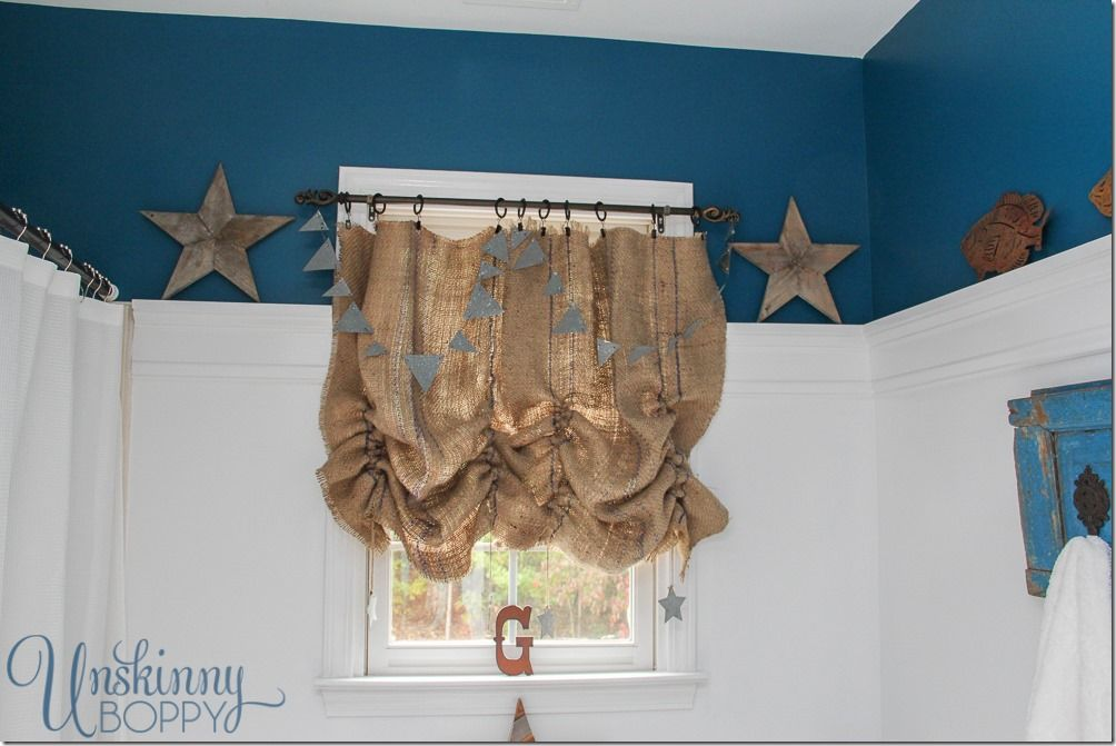 rustic boys bathroom makeover those ruched burlap curtains are rh pinterest com Boy Rustic Bathroom with Wooden Floors Nautical Boys Bathroom