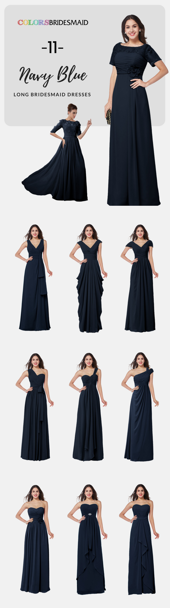 Long bridesmaid dresses in navy blue color in chiffon fabric looks