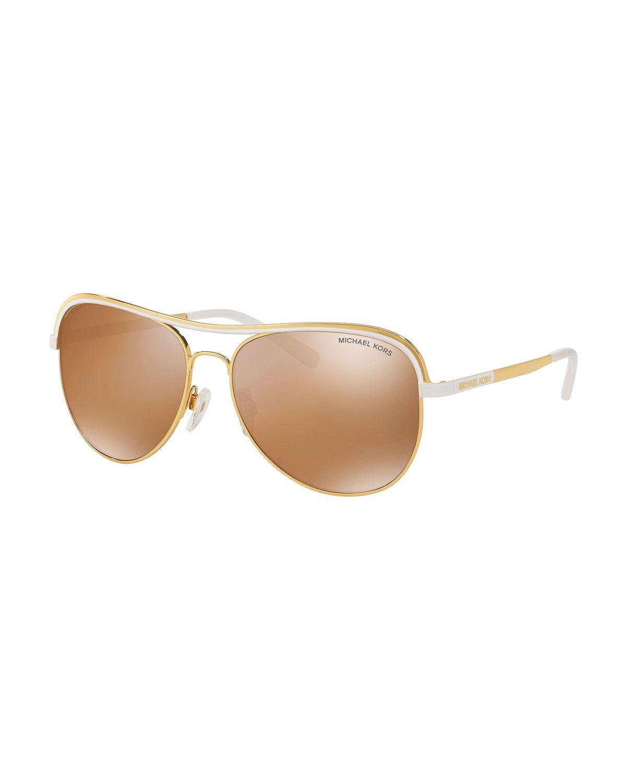 2a6f1b1026f91 Michael Kors Metal Mirrored Aviator Sunglasses