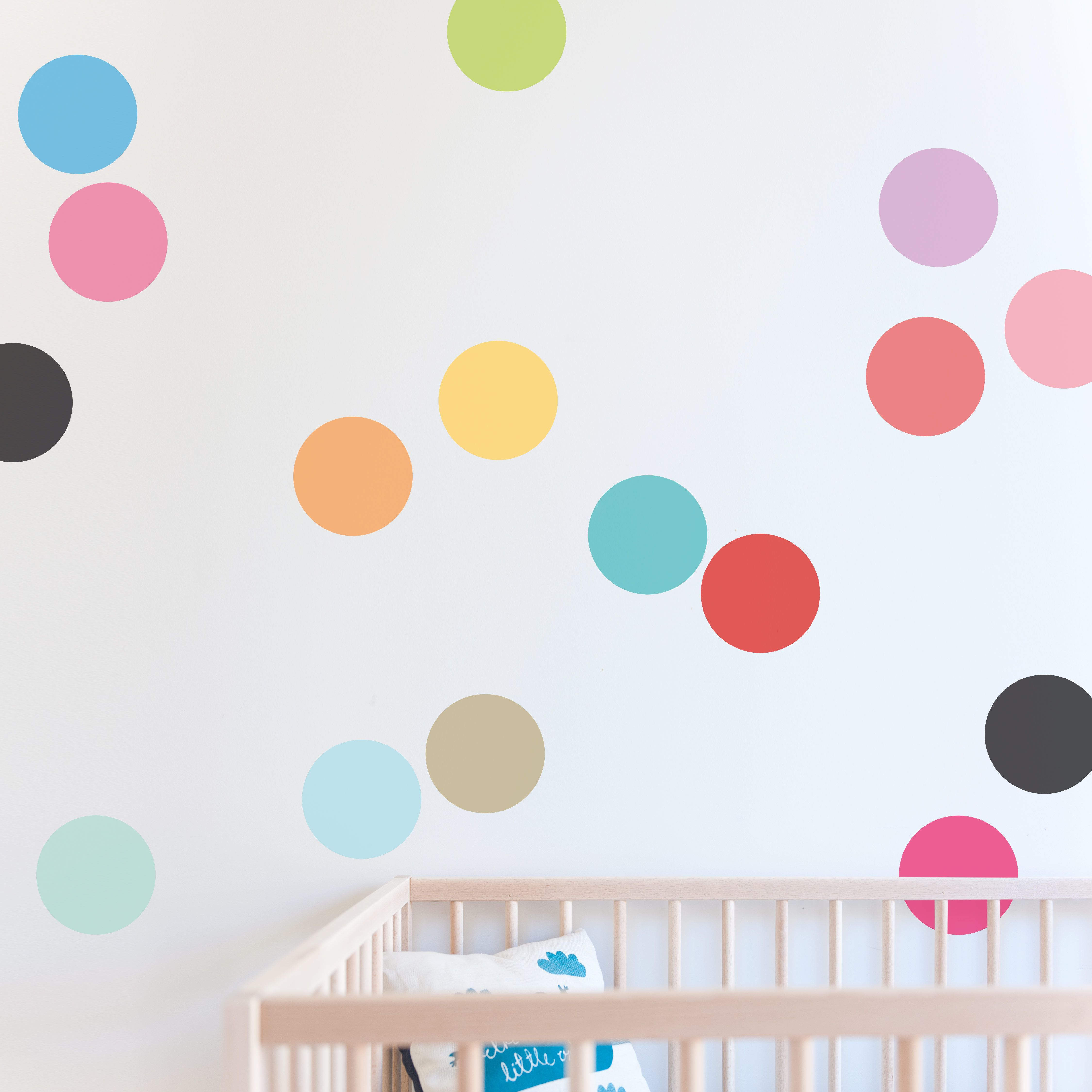 Bight and colourfull, confetti wall sticker dots are a simple way to add so  much