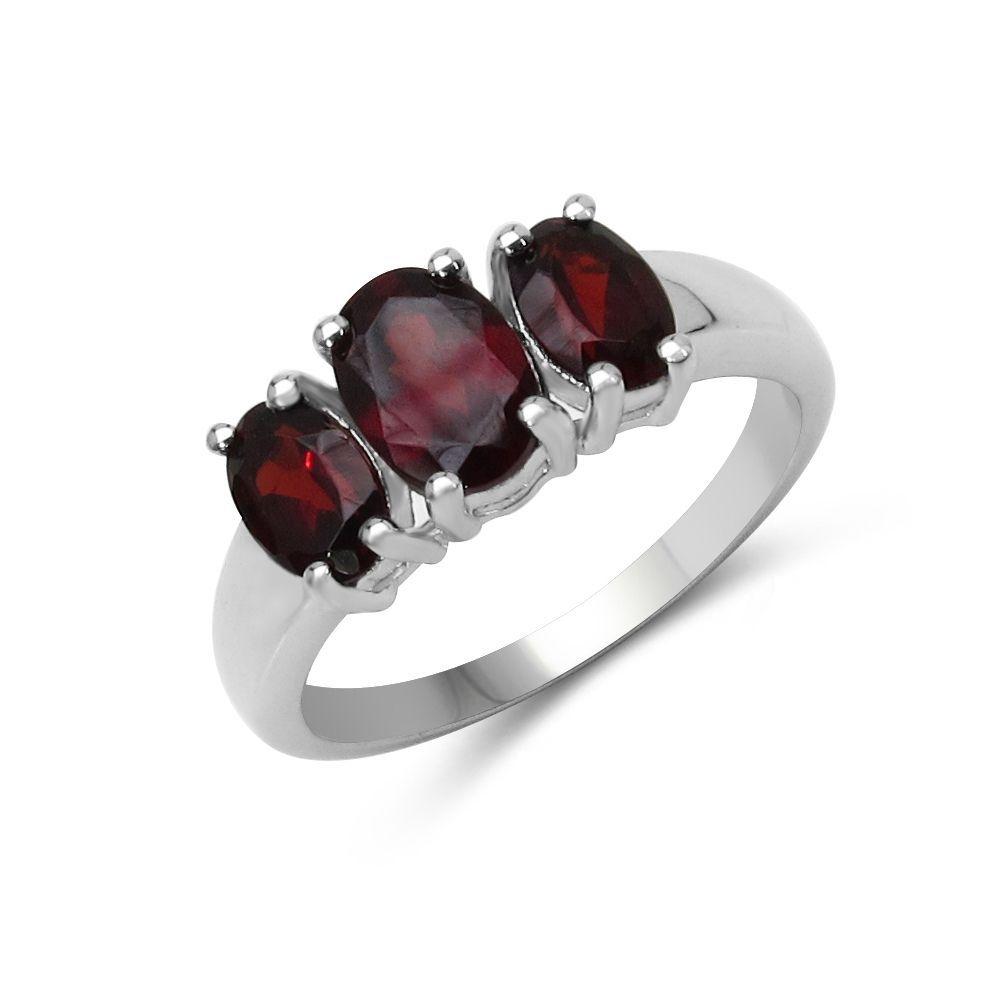 Malaika 1.97 Carat Genuine Garnet .925 Sterling Silver Ring (Size-8, Red), Women's, Size: 8