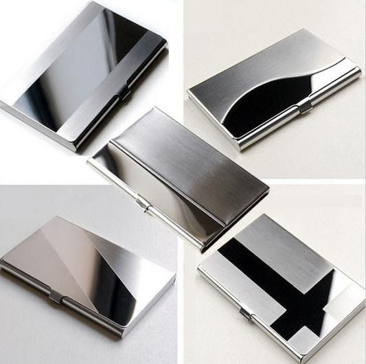 Waterproof stainless steel silver aluminium metal case box business waterproof stainless steel silver aluminium metal case box business id credit card holder case cover l09407 reheart Images