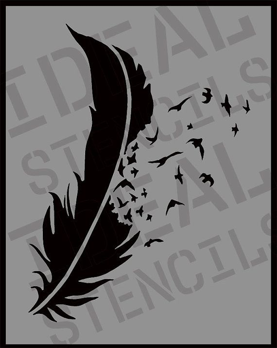 Feather With Flying Birds Stencil Wall Art Home