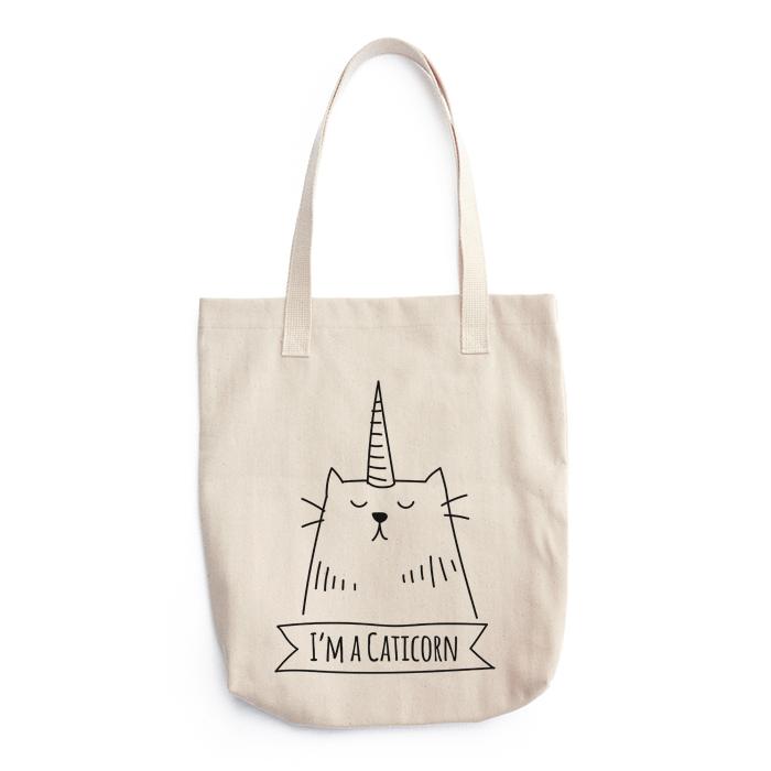9455a8a8d92 Canvas Tote Bag - Caticorn (Cat Unicorn) - Black Print - Natural Cotton  Reusable Grocery Bag - Shoulder Bag - Cute and Funny - Unique gift idea for  cat ...