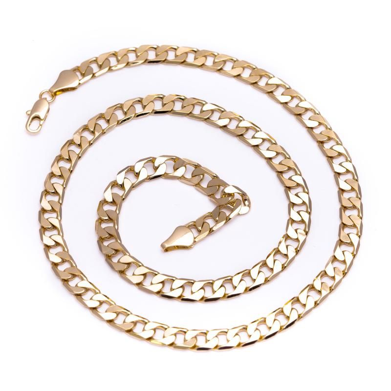 Bling King Men's Luxury 18k Gold Plated 13mm Bling Solid Curb Chain Necklace PIe98hSFS