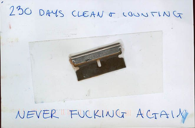 """""""230 days clean & counting. Never fucking again."""" From PostSecret."""