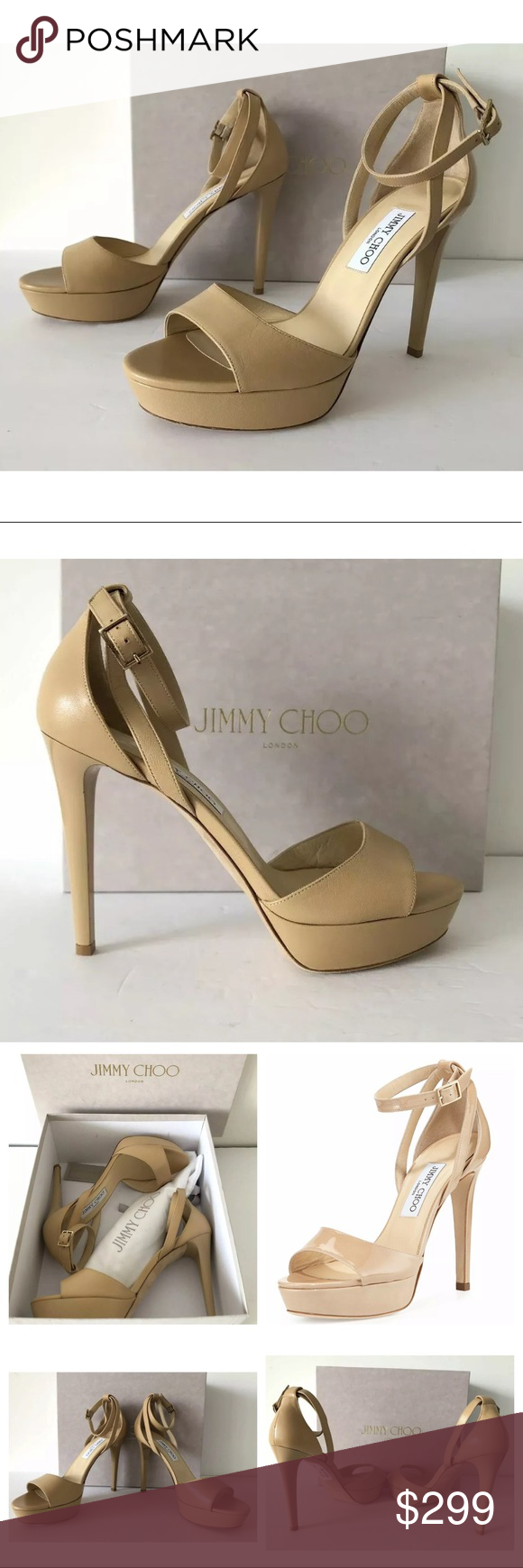f484b10f128 JIMMY CHOO KAYDEN KID LEATHER PLATFORM HEEL SANDAL Jimmy Choo Kayden  -Condition  Brand New