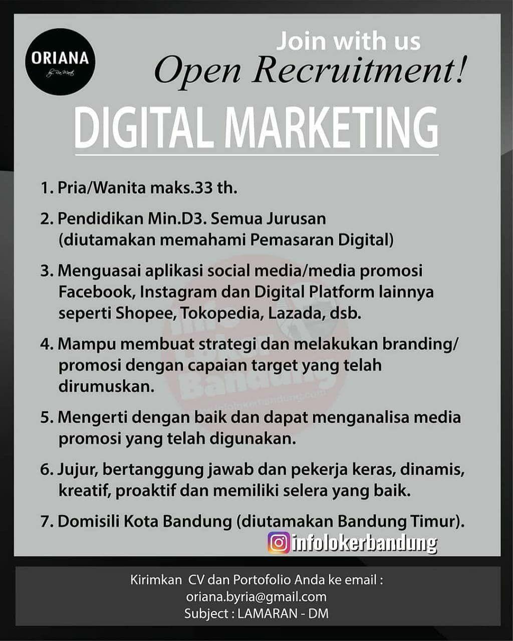 Lowongan Kerja Digital Marketing Oriana Boutique Pemasaran Digital Marketing Pemasaran