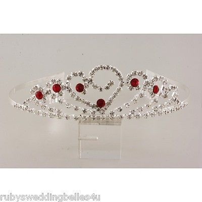 DELIGHTFUL HEART TIARA WITH CLEAR AND RED RHINESTONES
