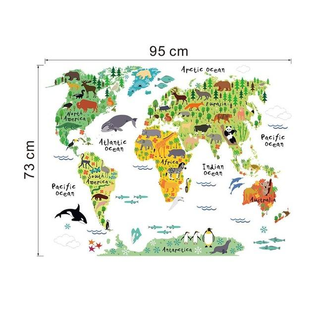 Newest cartoon animals world map home decal wall sticker for kids cheap home decor buy quality map poster directly from china world map poster suppliers world map poster nature animal sticker home dec funny bedroom for gumiabroncs Images