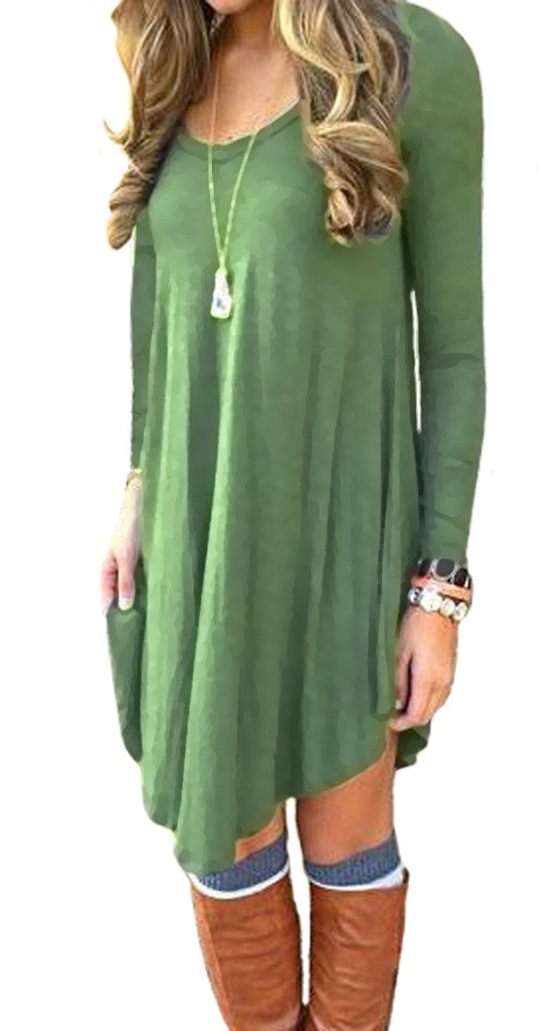 058a5aab369 Women s Dress Long Sleeve Stretch Solid A-Line Short Tunic Dresses Army  Green S at Amazon Women s Clothing store