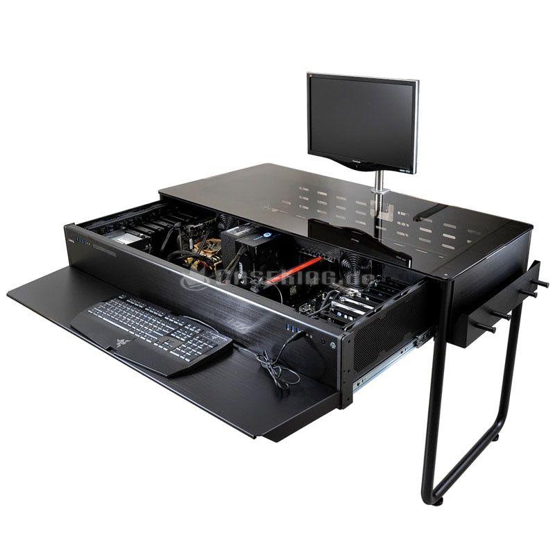 Lian Li Dk 02x Tischgehause Schwarz Computergehause Pc Bauen Pc Schreibtisch