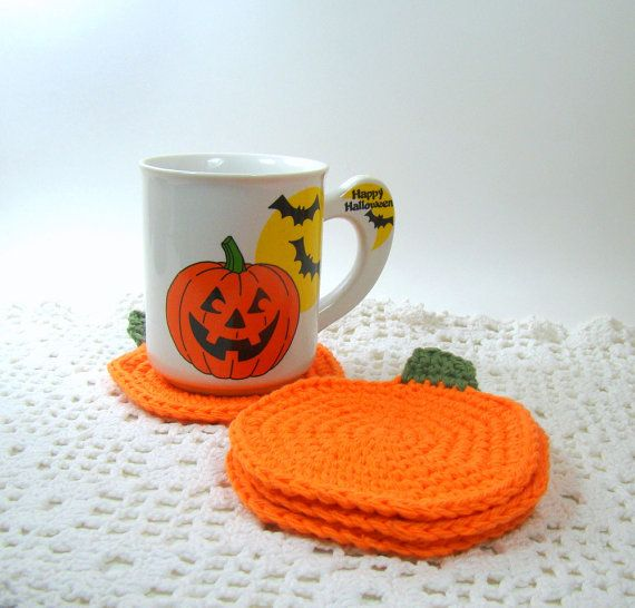 Pumpkin Coasters Fall Harvest Halloween by MagnoliaSurprise, $14.00