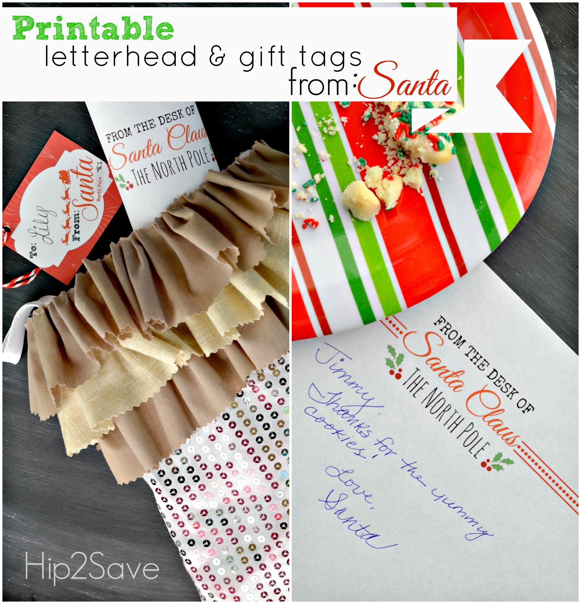 Official letterhead and gifts tags from santa claus free